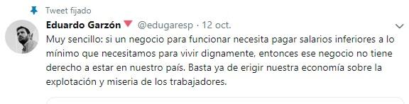 tuit de Eduardo Garzón