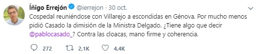 Tuit de Iñigo Errejón