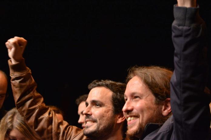 Alberto Garzón (IU) y Pablo Iglesias (Podemos)