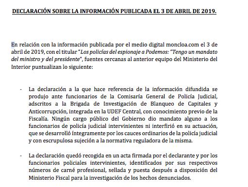 Interior apartó hace siete meses al inspector jefe que investigó a Podemos