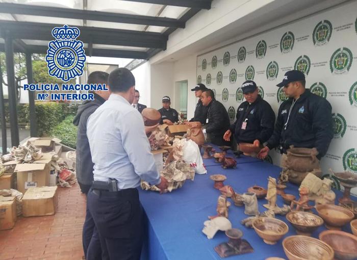 La Policía Nacional interviene en Madrid una máscara de oro de Tumaco expoliada en Colombia