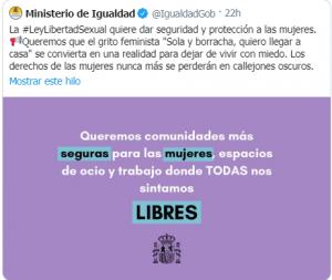 Tweet Ministerio de Igualdad