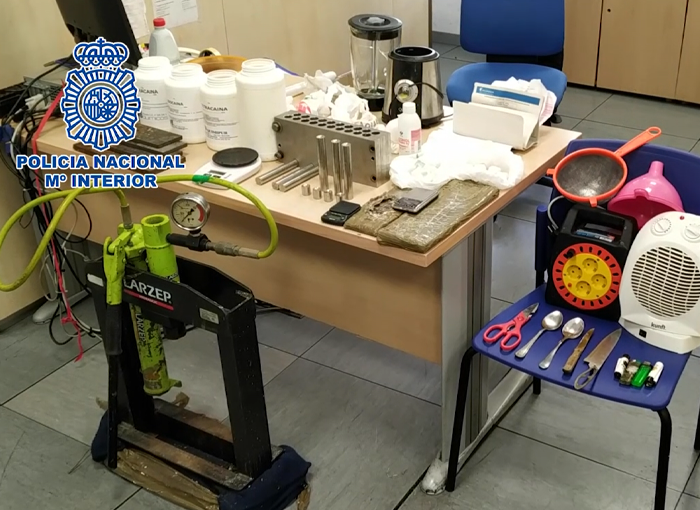 Desmantelado en Alcorcón un laboratorio de procesamiento de cocaína