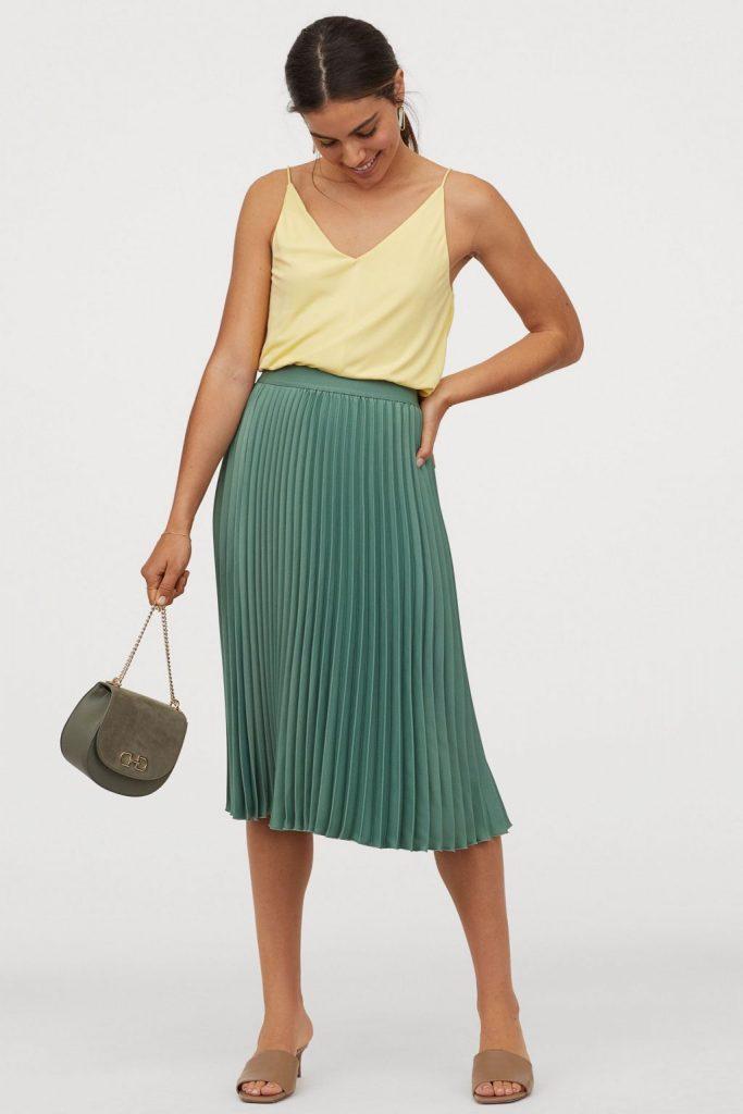 falda midi plisada hm