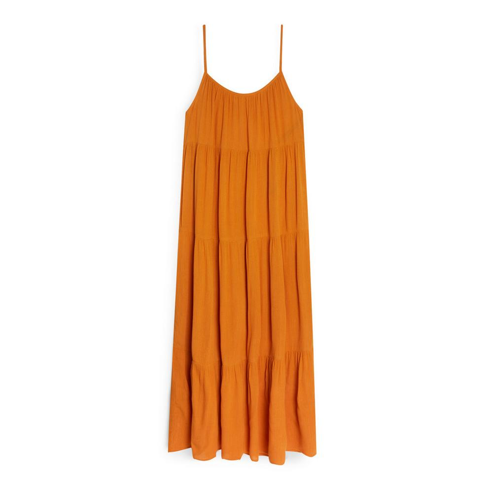 Vestido largo color mostaza de Primark
