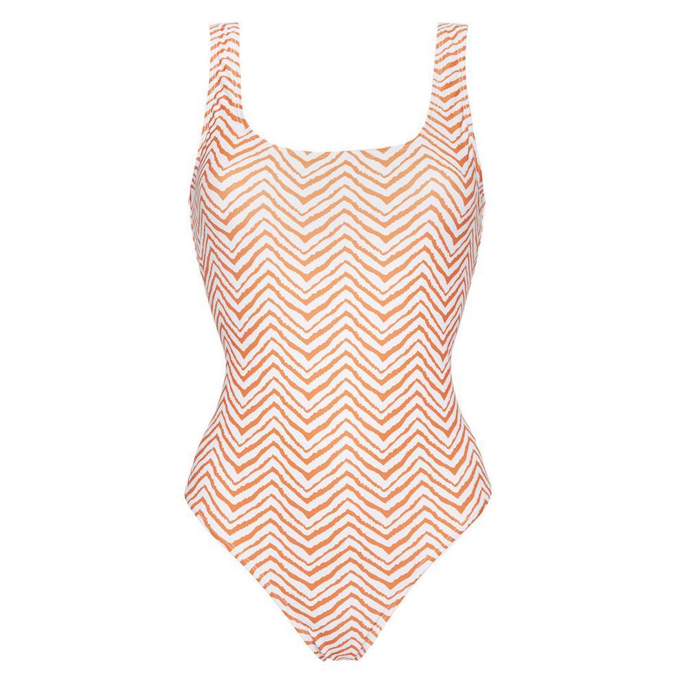 Bañador Primark con estampado en zigzag de color blanco y naranja