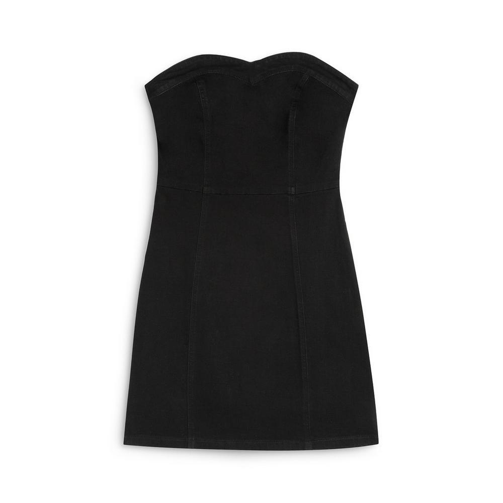 Vestido ceñido negro con escote palabra de honor Primark
