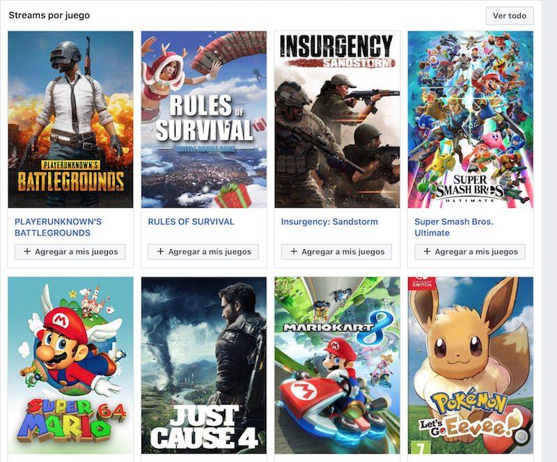 Los videojuegos de Facebook Gaming