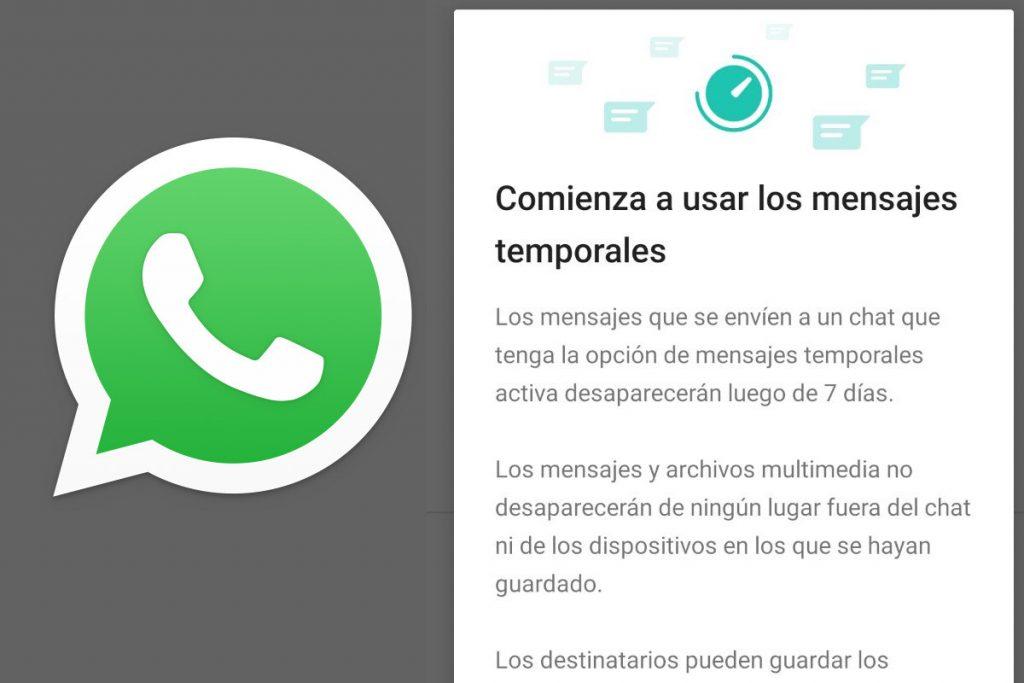 Los mensajes temporales de WhatsApp