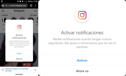 Las notificaciones de Instagram
