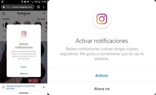 Las notificaciones de Instagram