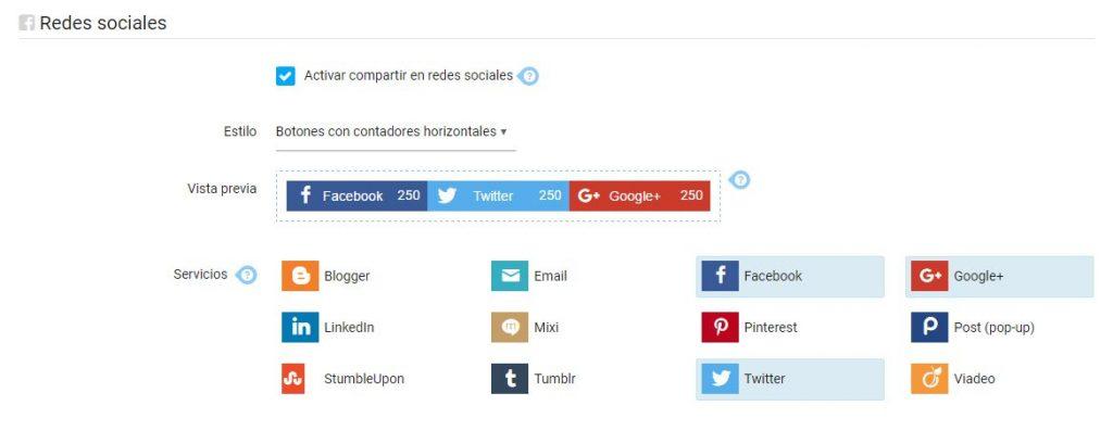 Los botones de compartir en los emailes