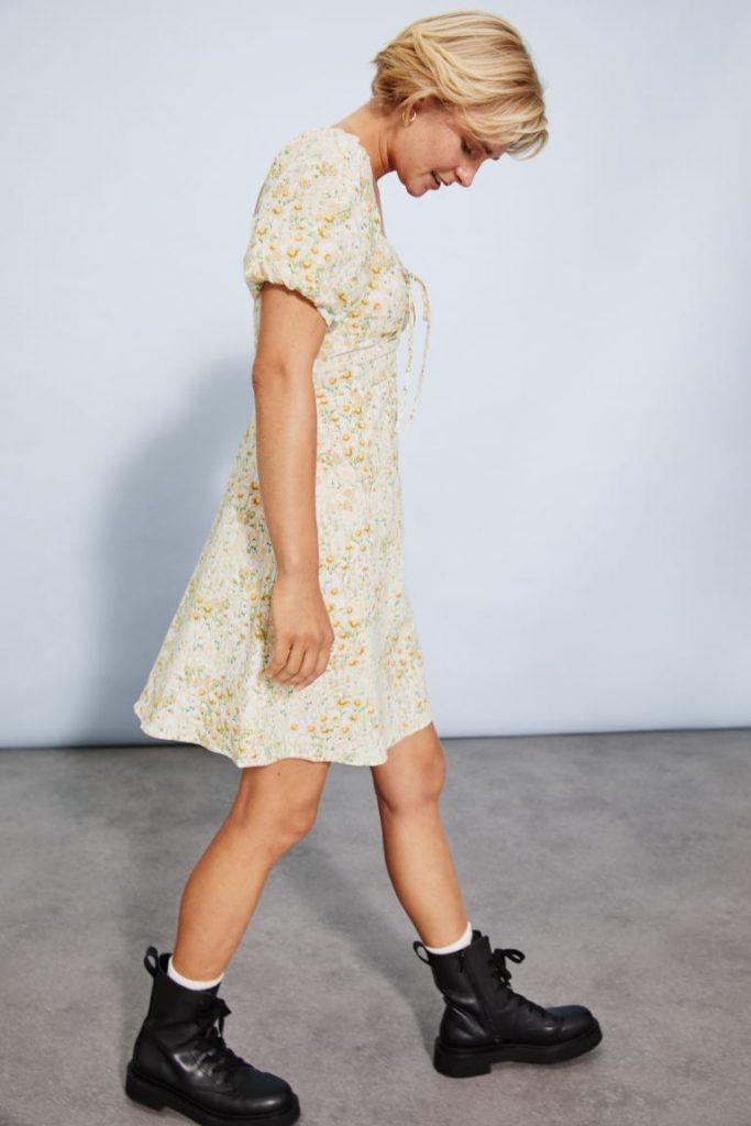 vestido lino h&m