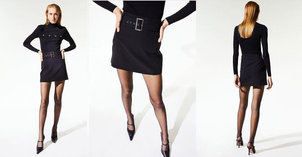 Falda negra con cinturón Sfera.