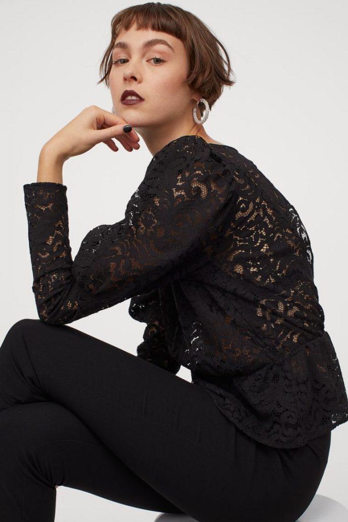 blusa encaje negro