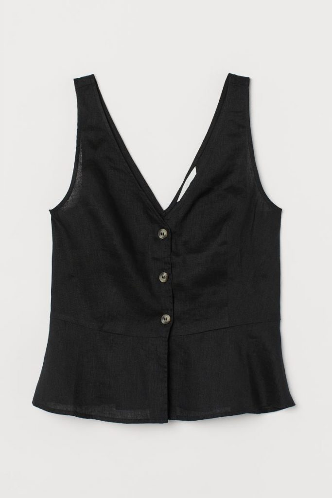 blusa lino negra