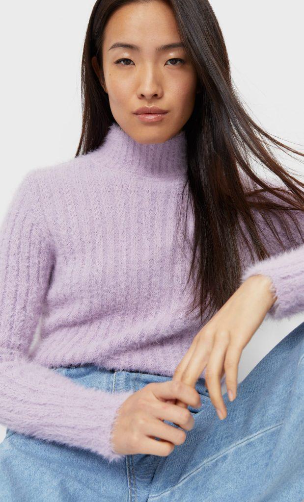 jersey cuello alto lila