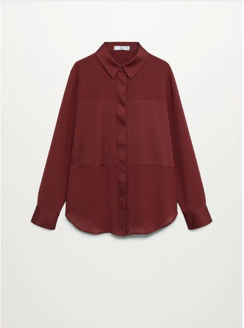 Camisa panel satinado MAngo
