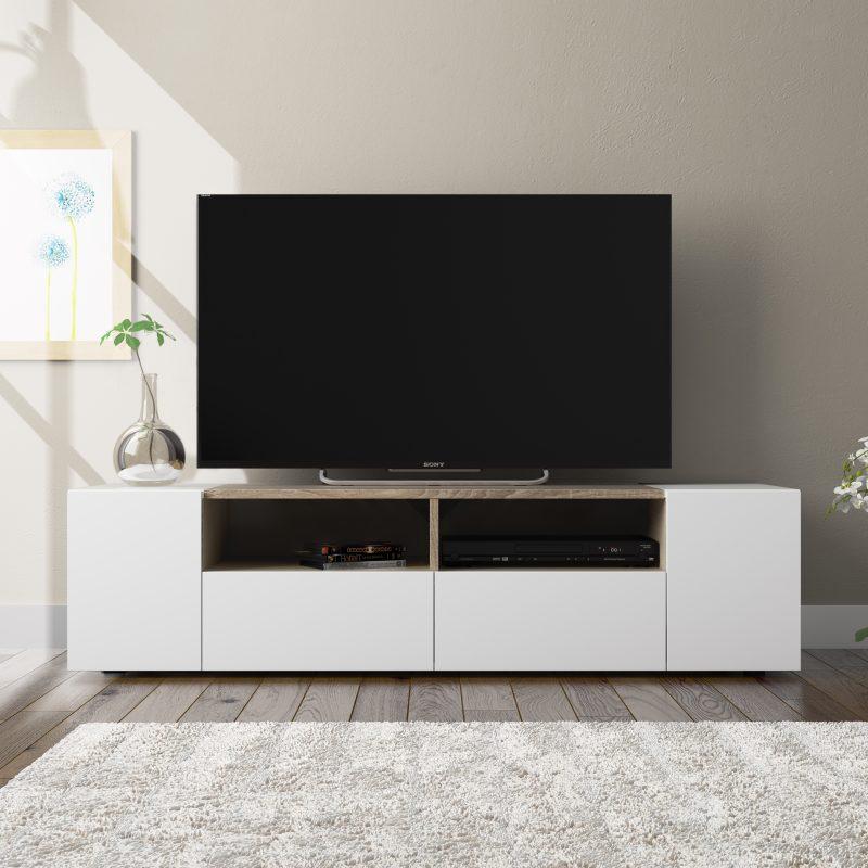 Mueble de televisión TAMIKO blanco con roble, solo por Leroy Merlín