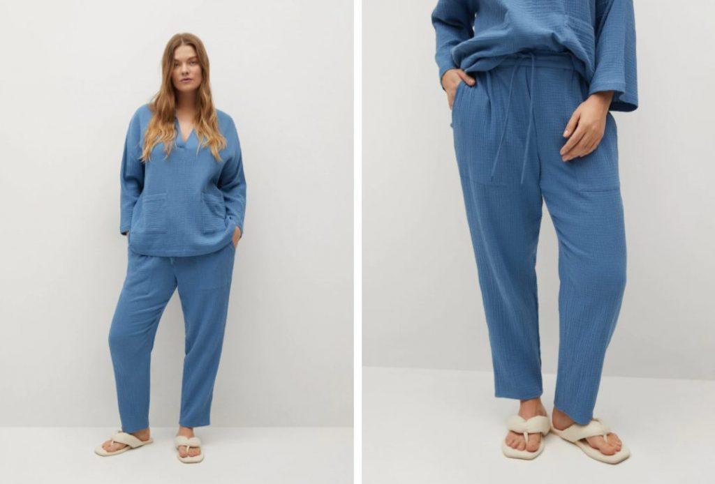 pantalon algodon azul