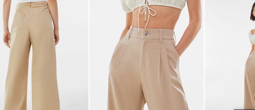 Pantalón algodón wide leg pinzas