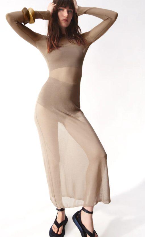 vestido punto semitransparente