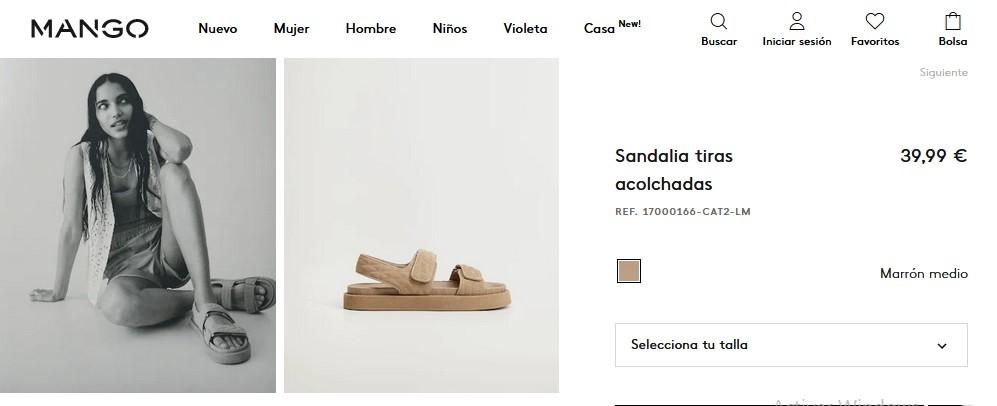 Sandalia tiras acolchadas- Mango
