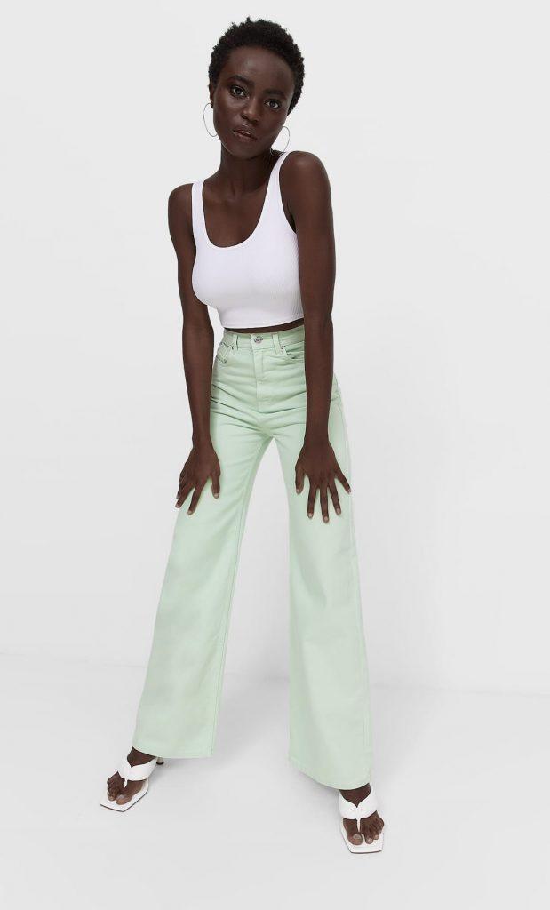 pantalon wide leg stradivarius