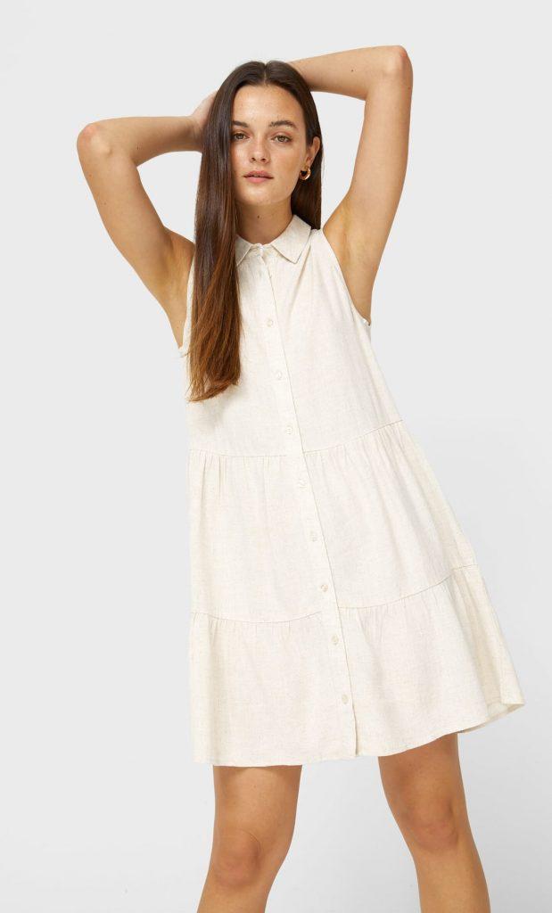 vestido camisero stradivarius