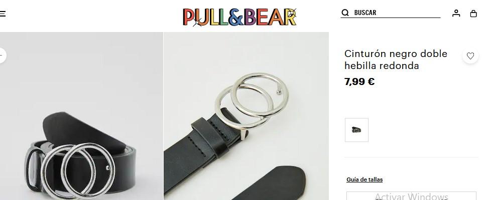 Cinturón negro doble hebilla redonda- Pull&Bear