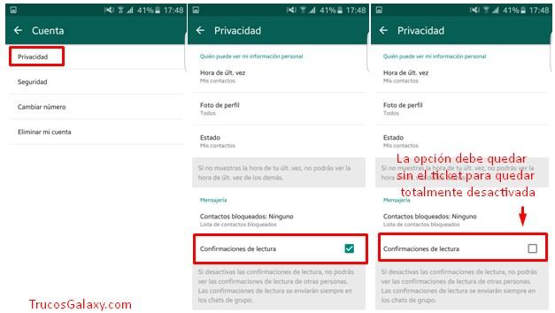Eliminar la confirmación de lectura del WhatsApp