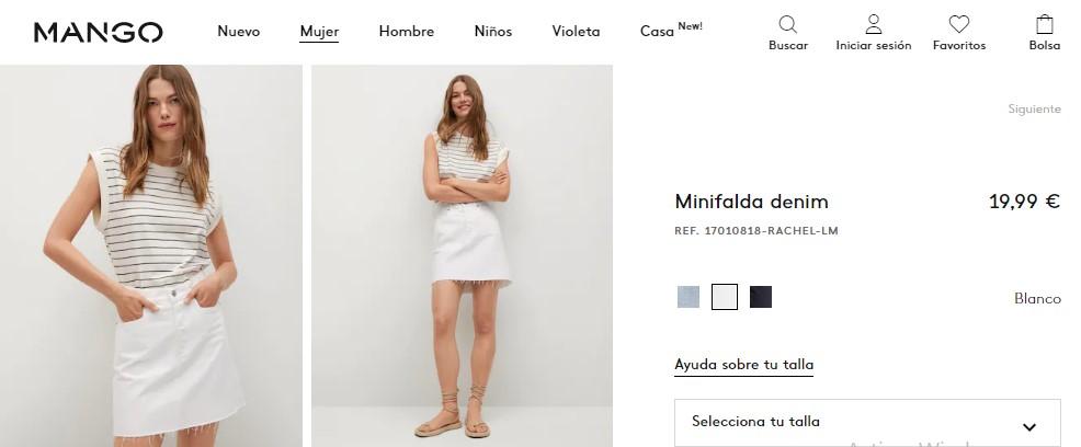 Minifalda denim- Mango