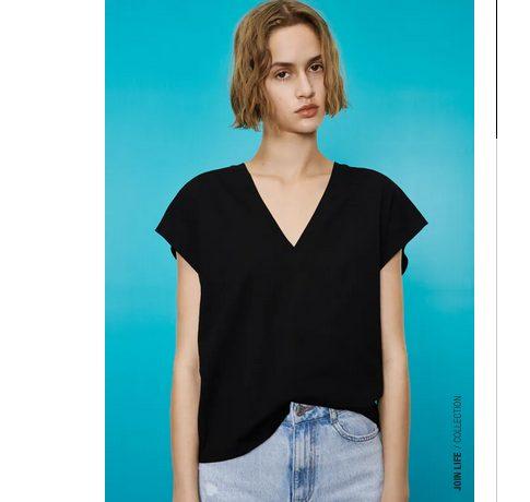 Camiseta básico en pico del Zara