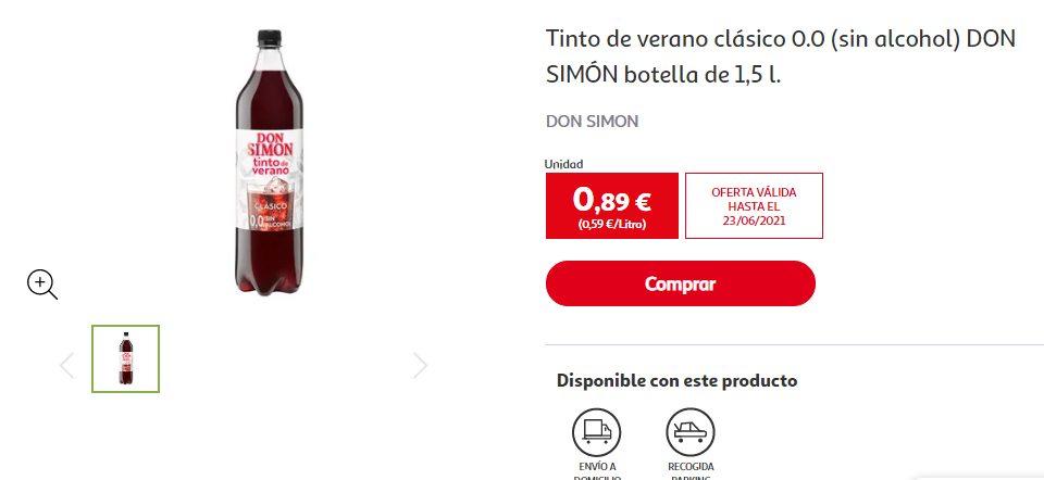Tinto de verano sabor limón, sin alcohol y sin azúcar don simon botella de 1,5 l.