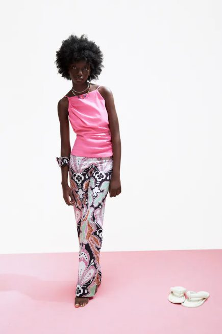 Pantalón Estampado con Lino Zara