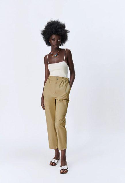 Pantalón Paperbag Popelín Zara