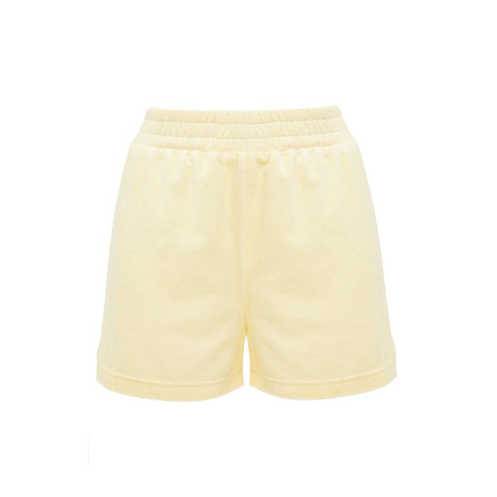 Pantalón corto amarillo de felpa con cintura elástica Primark