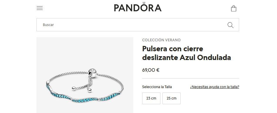 Pulsera con cierre deslizante Azul Ondulada- Pandora