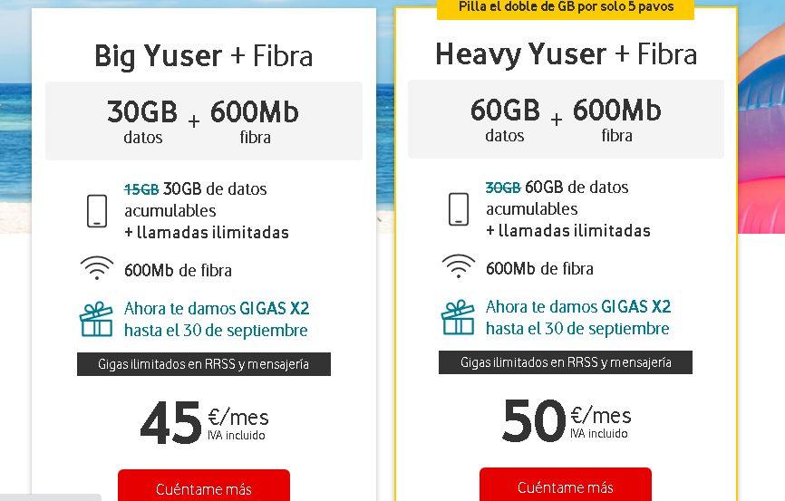 Las ofertas de fibra de Vodafone