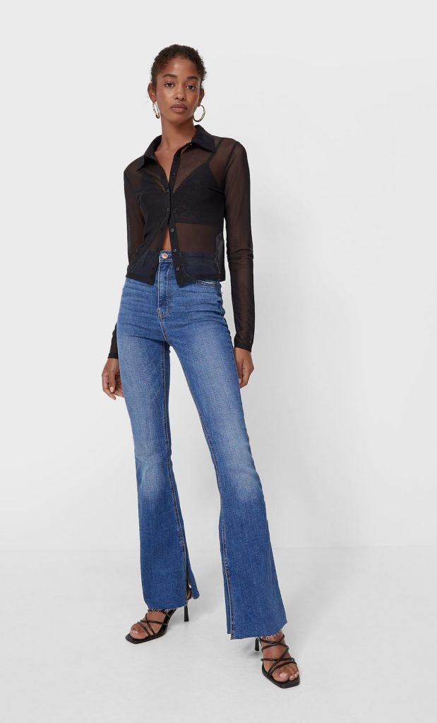 Jeans flare slit Stradivarius
