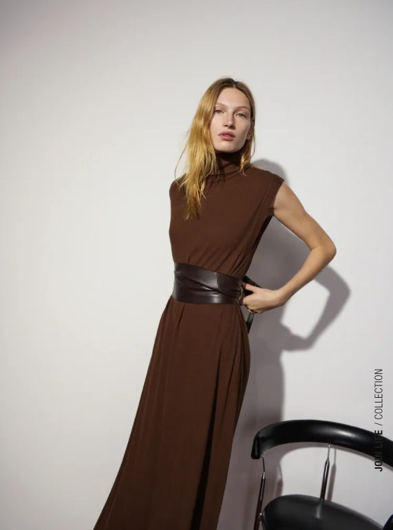 vestido largo marron